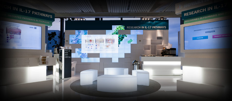 Video wall created by Excogitare for the stand of a major pharmaceutical firm, Prague