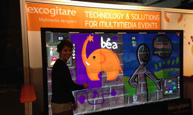 Video wall with 24 MicroTiles™ and multitouch i-kit app