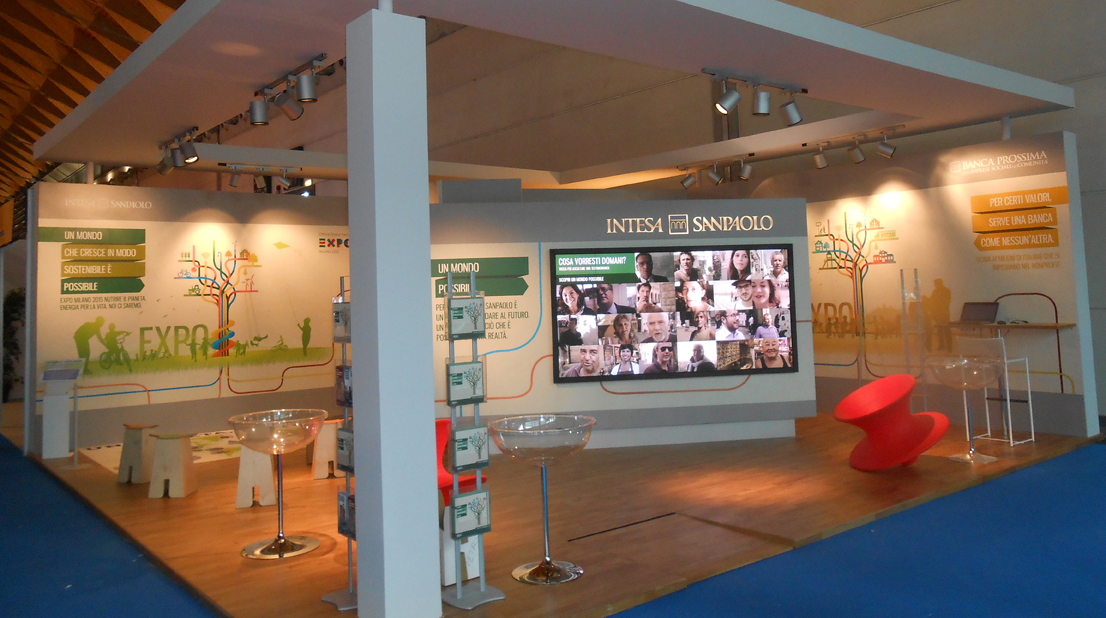 The Intesa Sanpaolo stand at the meeting of Rimini